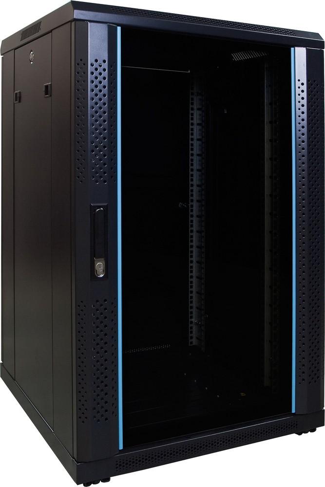Afbeelding van 18U serverkast met glazen deur 600x600x1000mm (BxDxH)