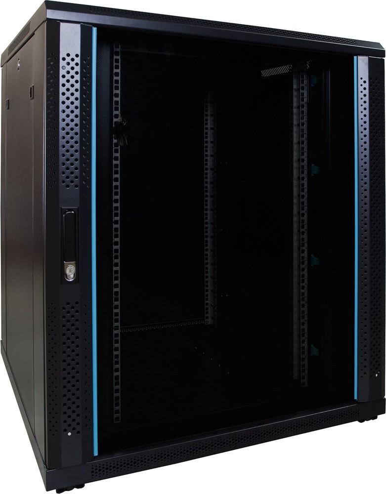 Afbeelding van 18U serverkast met glazen deur 800x800x1000mm (BxDxH)