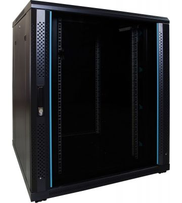 18U serverkast met glazen deur 800x800x1000mm (BxDxH)