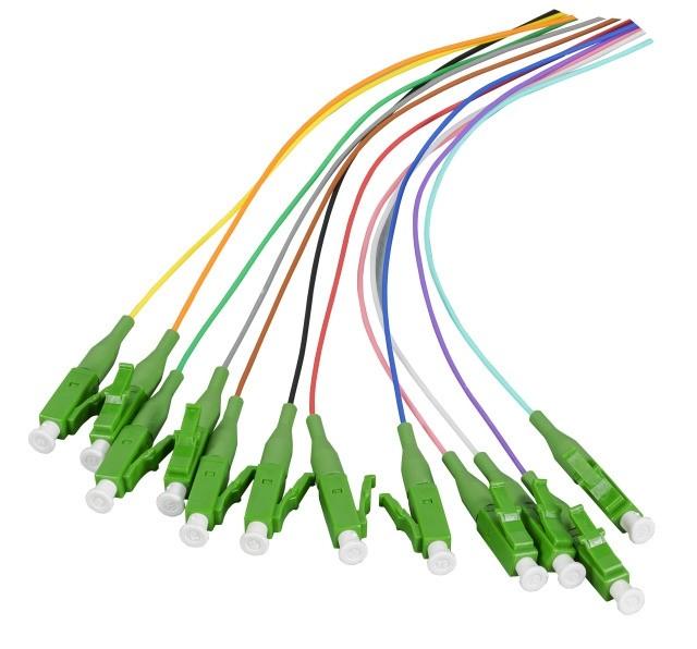 Afbeelding van OS2 glasvezel pigtail gekleurde set LC/APC - 12 stuks